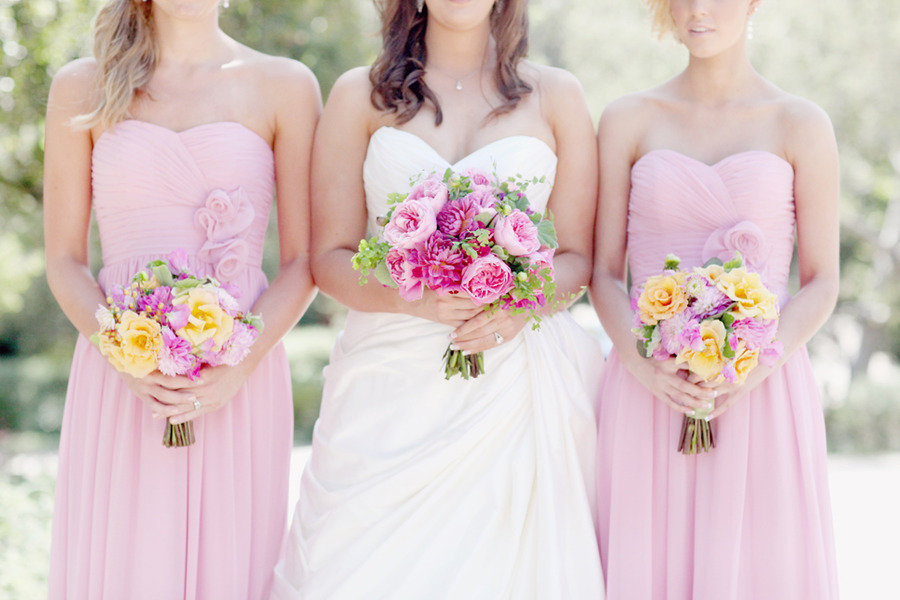 Bride-with-bridesmaids-pink-long-gowns-romantic-bouquets.full