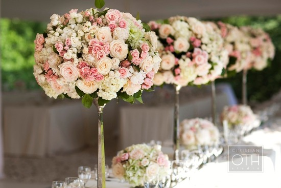 romantic garden wedding flowers pink ivory topiaries