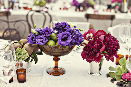 enchanted garden wedding reception centerpieces purple red