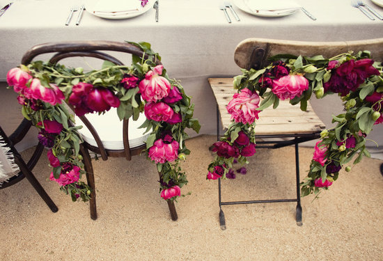 enchanted garden wedding inspiration reception flowers pink garland