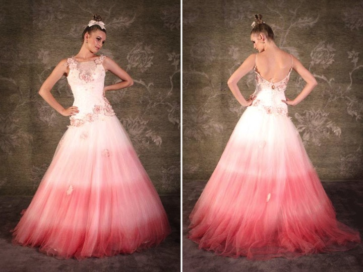 a-line ombre wedding dress
