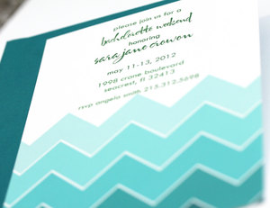 photo of Ombre chevron wedding invitation