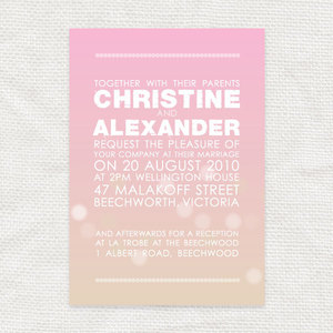 photo of pink orange ombre wedding invitation sunset inspired