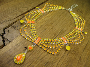 photo of Neon ombre statement bridal necklace