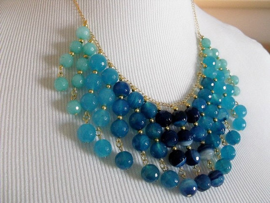photo of Blue ombre bib bridal necklace