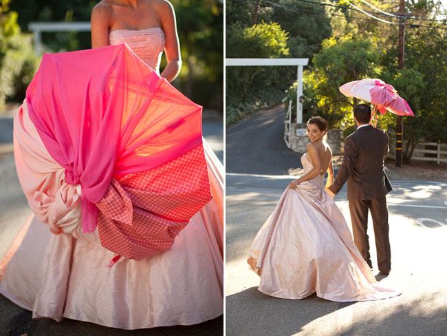 Ombre-wedding-ideas-pink-bridal-gown-umbrella-1.full