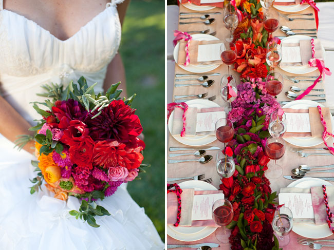 Ombre-wedding-ideas-pink-bridal-gown-pink-red-wedding-flowers.full