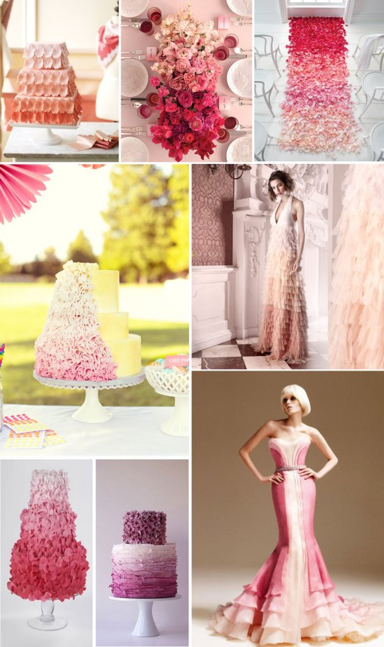 ombre wedding trend 2012 ombre wedding cakes bridal gowns flower centerpieces