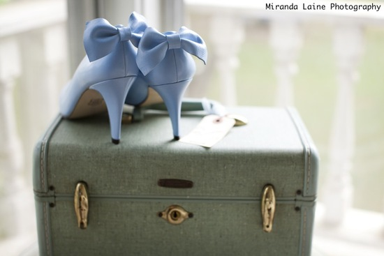 photo of Something Blue wedding shoes for a romantic outdoor Spring or Summer wedding