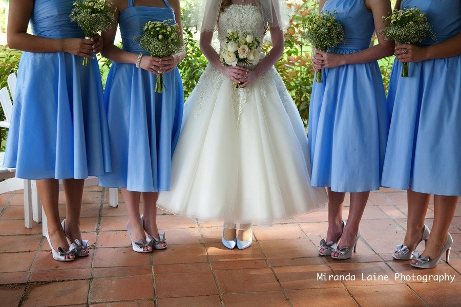 Secret Garden Wedding Inspiration Blue Bridesmaids Dresses Tea Length Dress