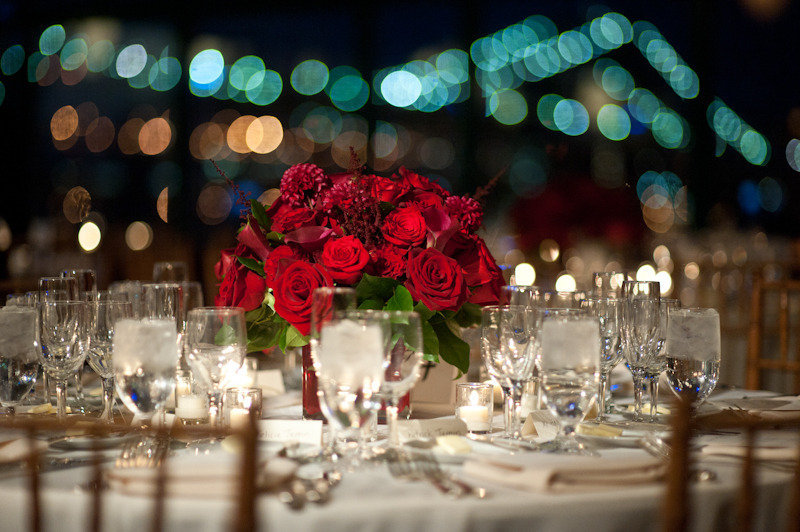 bold red rose wedding centerpiece