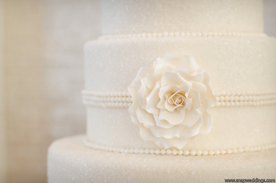 classic ivory wedding cake pearl details