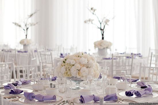 elegant ivory lilac wedding reception centerpieces place settings