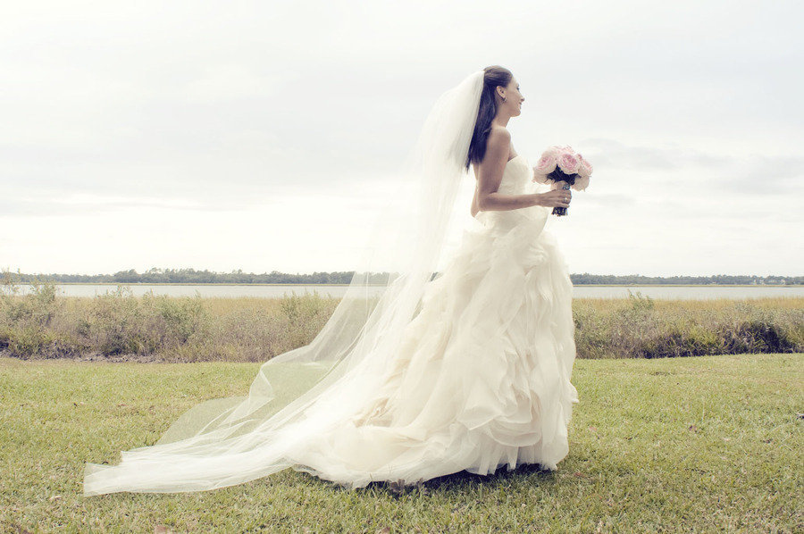 gorgeous bridal portrait vera wang ballgown wedding dress