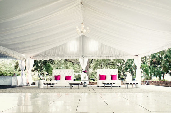 outdoor weddings tent wedding venue white with hot pink details