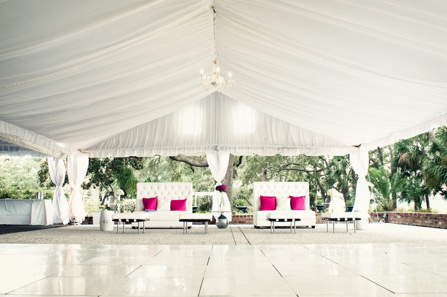 outdoor weddings tent wedding venue white with hot pink ...