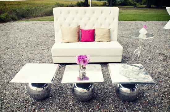 real wedding outdoor lounge area silver pink ivory