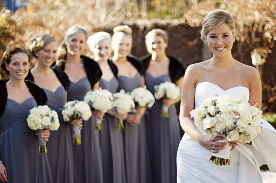 photo of elegant ivory wedding flowers bride with maids