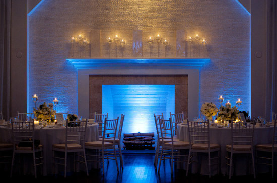 elegant indoor wedding venue blue LED lighting