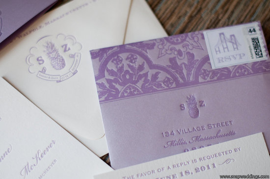photo of elegant purple ivory wedding invitations RSVP