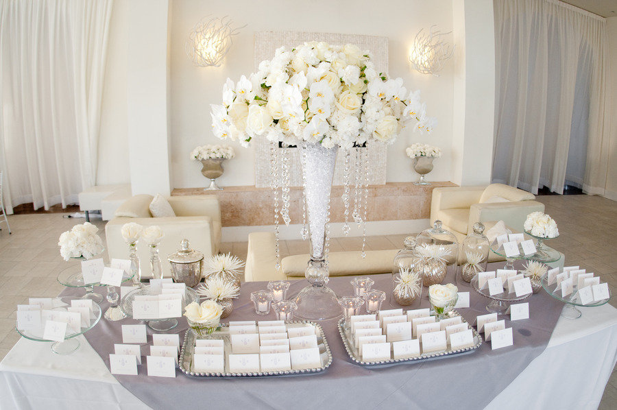 All-white-ivory-wedding-reception-welcome-table-escort-cards.full