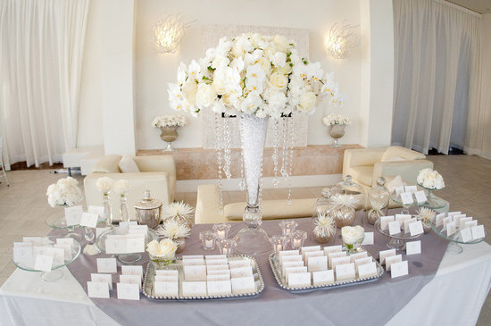 All White Ivory Wedding Reception Welcome Table Escort Cards