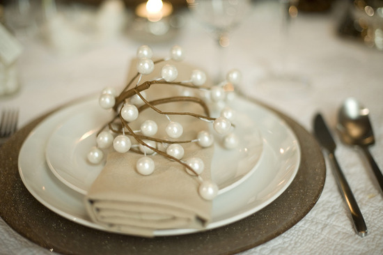 photo of elegant rustic winter wedding reception place setting