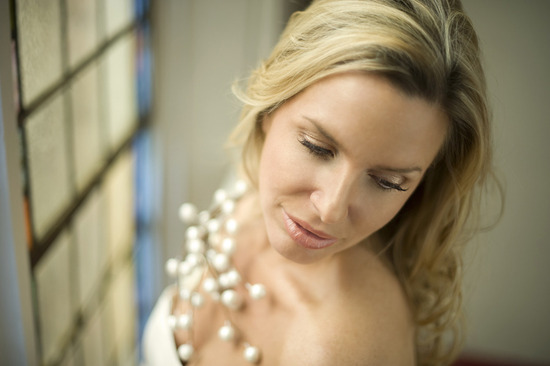 photo of natural bridal makeup all down wedding hair