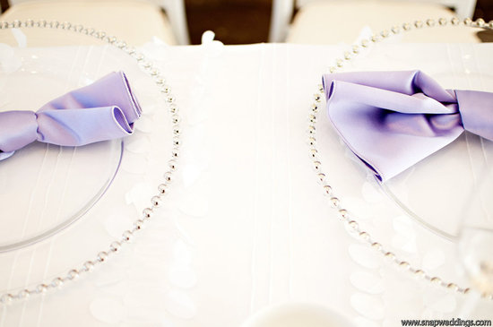 modern wedding reception details clear charger places