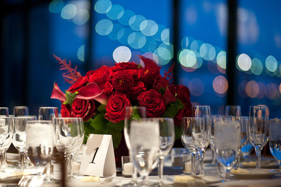 elegant red wedding centerpiece downtown wedding venue