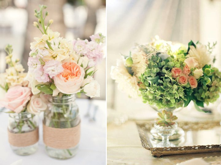 Spring Wedding Reception Centerpiece Romantic Wedding Flowers Pastels
