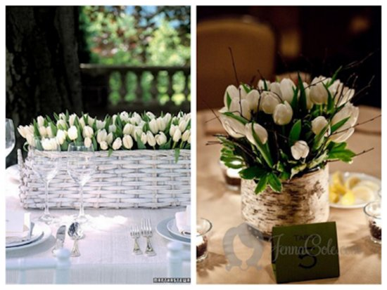 romantic spring wedding centerpiece white tulips