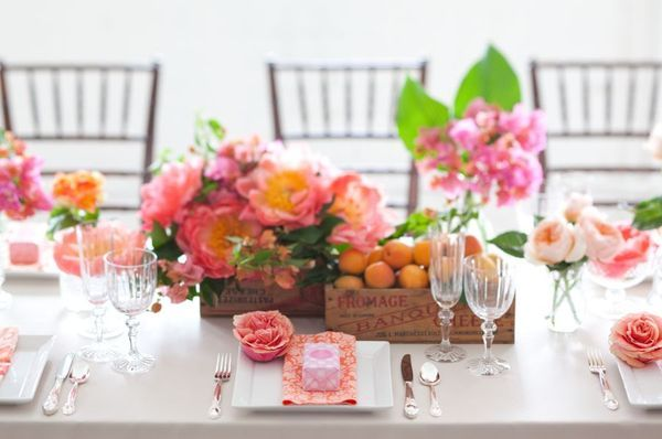 spring wedding reception centerpiece pink peach wedding flowers