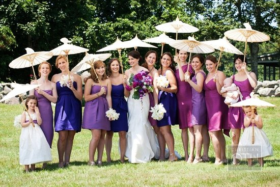 purple mix and match bridesmaids