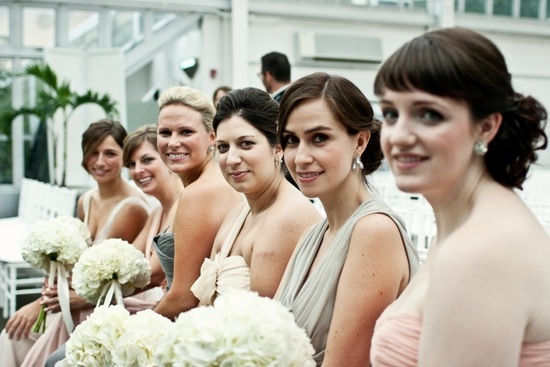 photo of elegant bridesmaids mix and match dresses