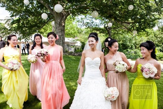 mix match bridesmaids dresses spring colors long gowns