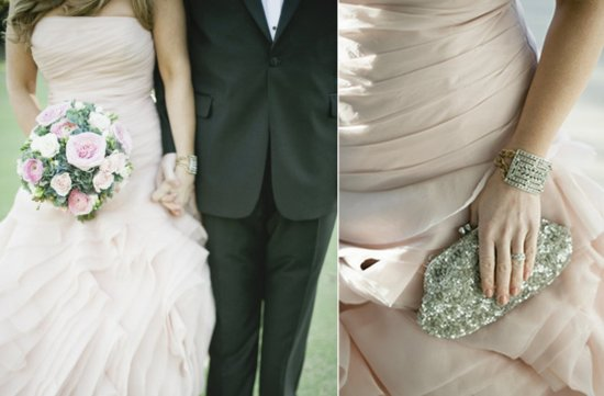 photo of pink vera wang strapless wedding dress
