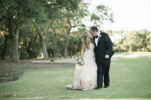 photo of pink vera wang wedding dress