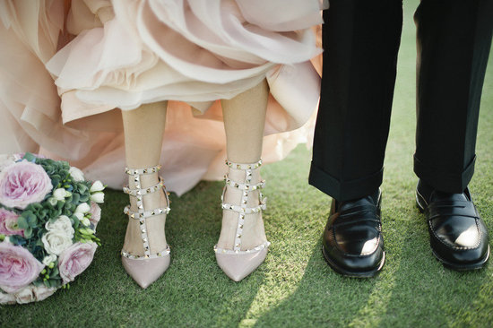 pink wedding dress and bridal heels