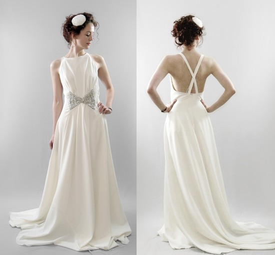 photo of Wool crepe bridal gown