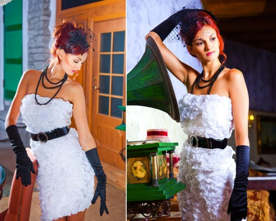 photo of Strapless little white dress with black accessories