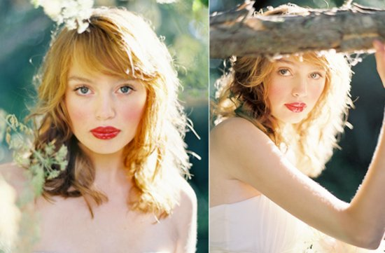 romantic wedding hairstyle outdoor wedding by jose villa red lips