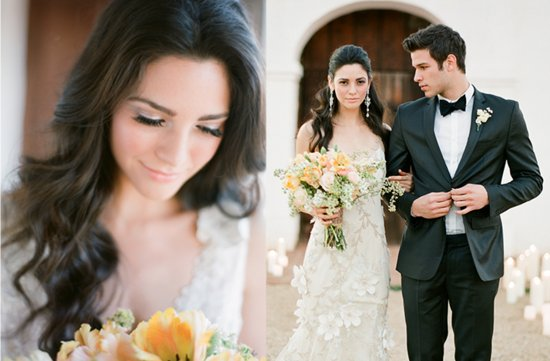 photo of romantic wedding hairstyle outdoor wedding by jose villa