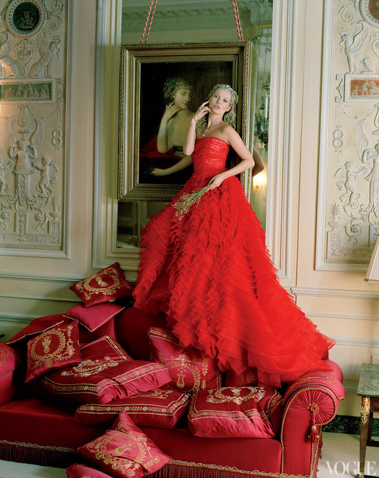 dramatic wedding inspiration kate moss in crimson red wedding dress dior haute couture