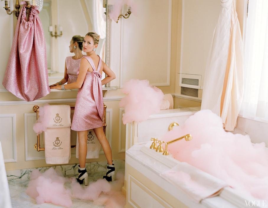 Dramatic Wedding Inspiration Kate Moss Elegant Ballroom Venue Hot Pink Bridesmaid Dress