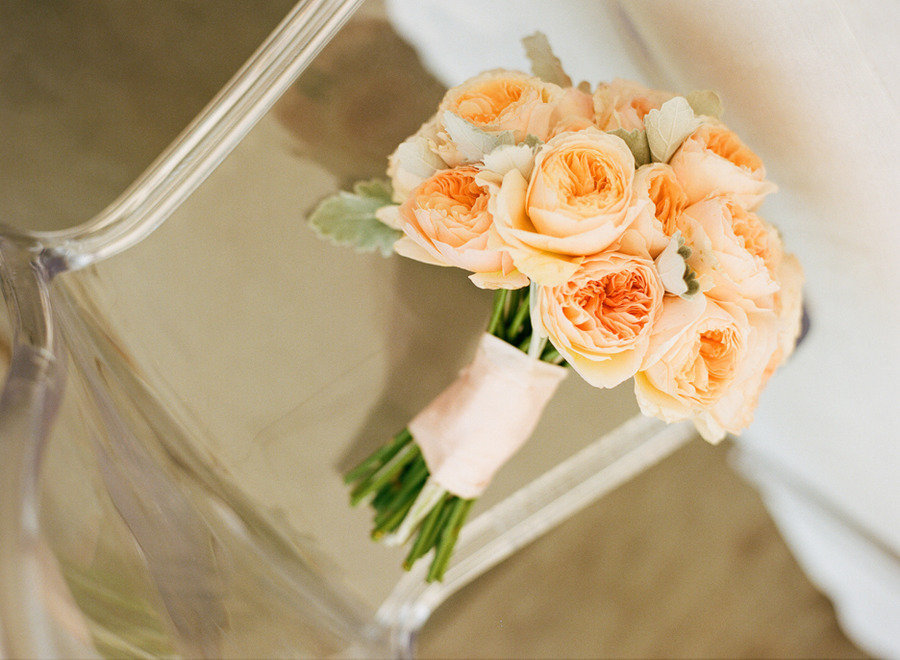 romantic peach bridal bouquet