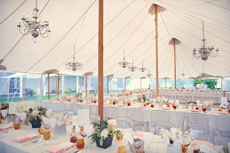 Elegant Real Wedding Outdoor Reception Under Tent Peach Theme