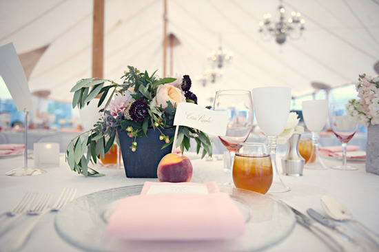 elegant real wedding outdoor reception under tent peach ivory light pink color palette