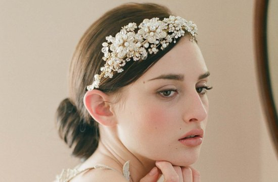romantic wedding headband bridal hair accessory embellished