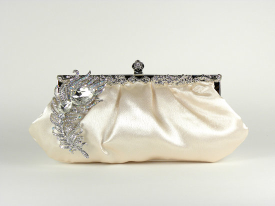 photo of Champagne satin bridal clutch